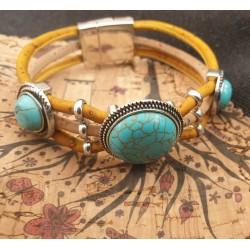 Bracelet en liège turquoise