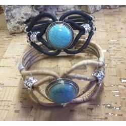 Bracelet en liège turquoise...