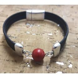 Bracelet en liège jaspe rouge