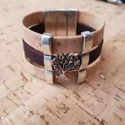 Bracelet en liège arbre de vie