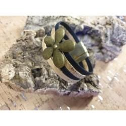Bracelet en liège fleur or...